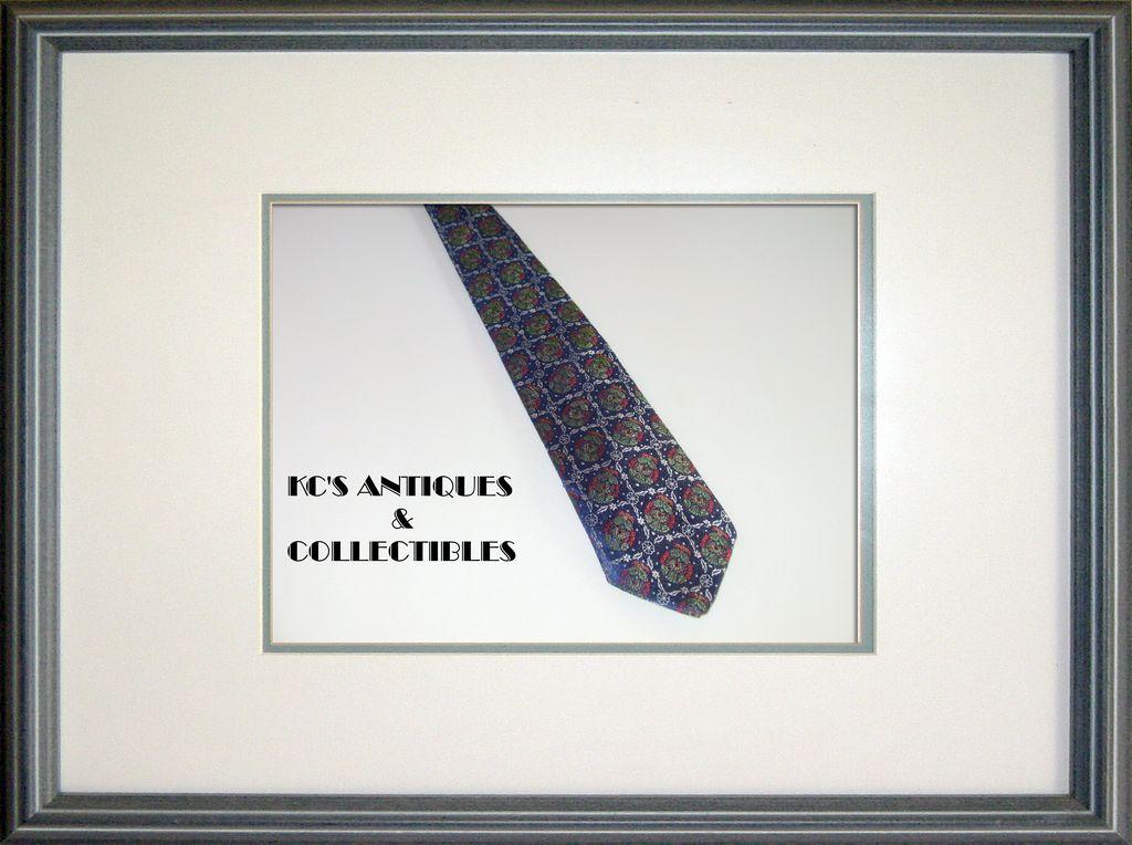 Vintage Blue Silk Necktie with Christmas Wreaths