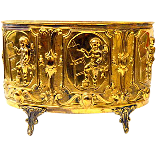 19th Century French Brass Petite Jardinière,  Ferner  with Cherubs