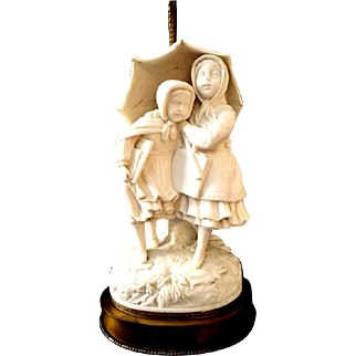 Parian Ware Porcelain Robert Cooke Figurine Victorian Lamp 19th C