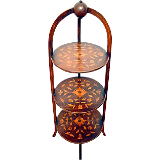 Three Tier Marquetry Mahogany Muffin Stand