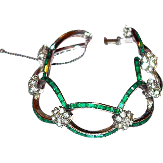 SALE Gorgeous Emerald Boucher Sterling Bracelet in our Year End SALE