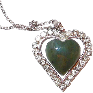 SALE JADE and Rhinestone Heart Pendant Necklace