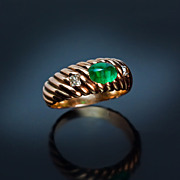 Antique Russian Emerald Gold Ring