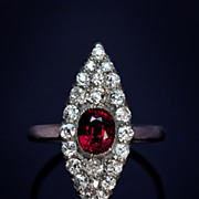 Natural Ruby and Diamond Marquise Shaped Cluster Ring