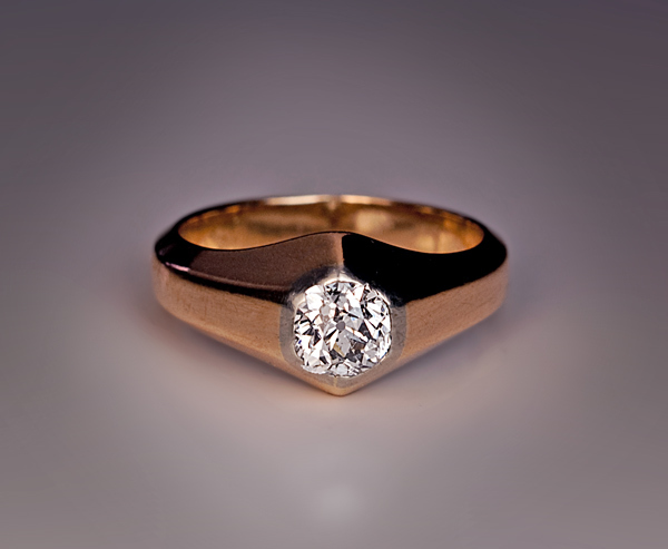Antique russian diamond solitaire 14k gold men 39 s ring from for Best place to sell gold jewelry in chicago