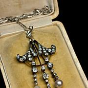 Art Nouveau Diamond and Pearl Necklace