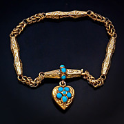 Victorian Turquoise 14K Gold Bracelet with Heart Charm