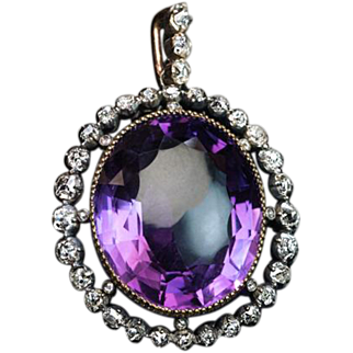 Antique Victorian Era Amethyst and Diamond Pendant