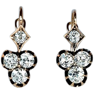 Antique Trefoil Shaped Diamond 14K Gold Earrings