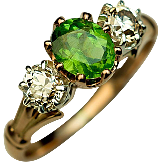 Vintage Three-Stone Demantoid and Diamond 14K Gold Ring