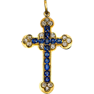Antique Sapphire, Diamond and 14K Gold Cross Pendant
