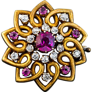 Antique Ruby, Diamond and 14K Gold Brooch Pin