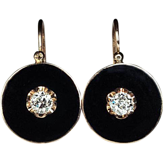 Antique Black Enamel, Diamond and 14K Gold Earrings