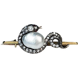 Antique Victorian Baroque Pearl and Diamond Snake Brooch / Pin