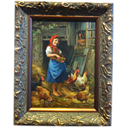 R.W. Gruber (German) Oil on Panel, Girl with Chickens