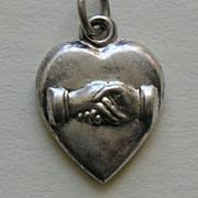 Victorian Friendship Handshake Sterling Heart Charm
