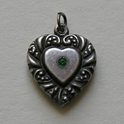 Vintage Large Green Paste  Double Sided Sterling Heart Charm