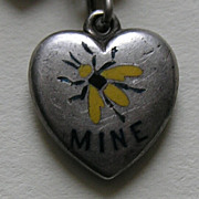 Antique Bee Mine Rebus Heart Thirteen Heart Sterling Bracelet