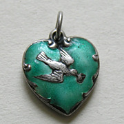 Vintage Enameled Bird and Letter Sterling Heart Charm
