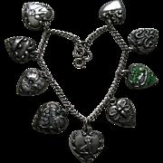 Antique and Vintage Nine Heart Sterling Bracelet