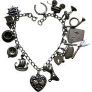 Vintage Sterling Charm Bracelet with two Walter Lampl Sterling Hearts