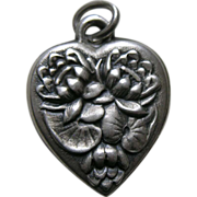 Vintage Flower of the Month Water Lily Sterling Heart Charm