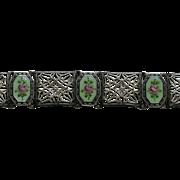 Art Deco Enameled Filigree Sterling Bracelet