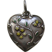 Vintage Enameled Yellow Flower Charles Sterling Heart Charm