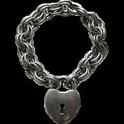 Vintage B. A. Ballou  Large Sterling Heart Lock and Bracelet