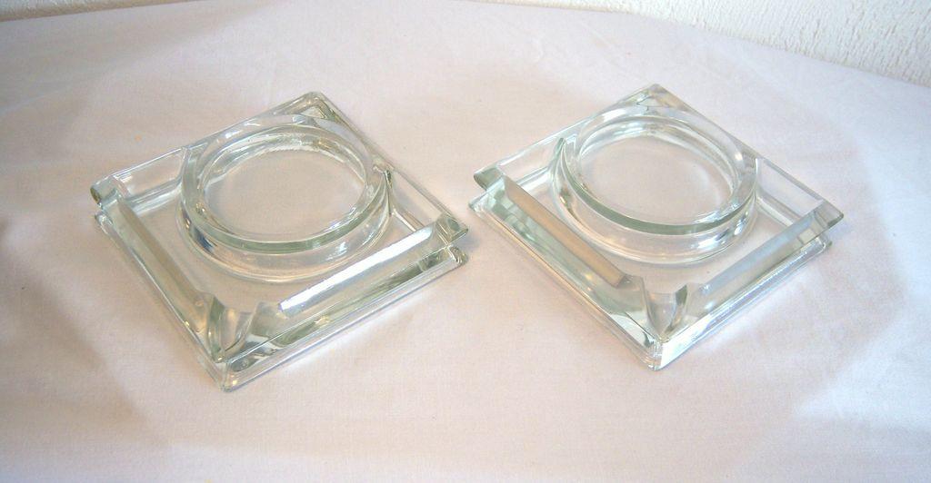 Cut Glass Ashtray/Coaster Combo Set of Two 1950's