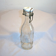 Old VEJLE Sweden Mineral Soda Bottle with Mechanical Porcelain Cap