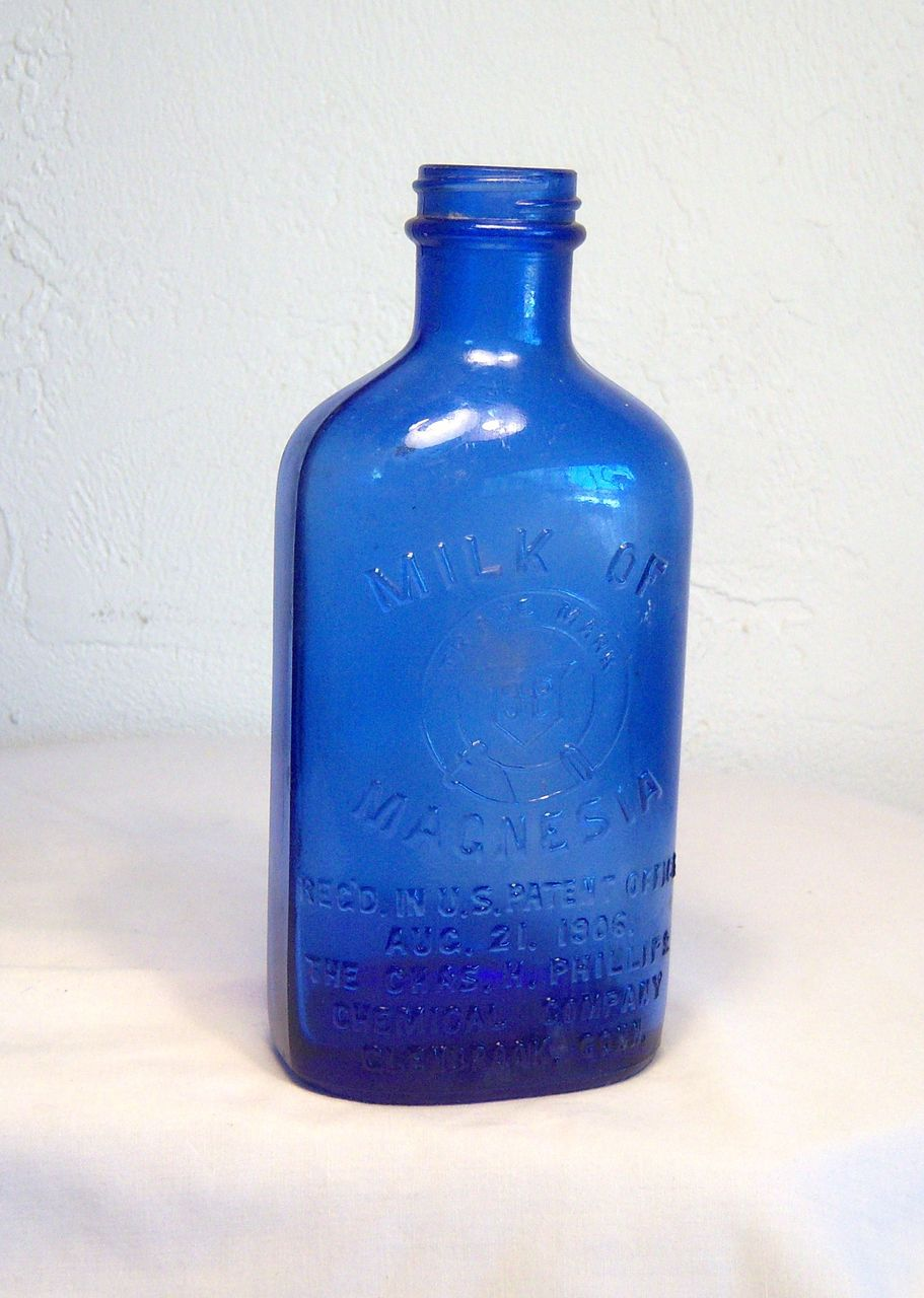 Milk of Magnesia Engraved Cobalt Blue Bottle Early 20th Century