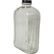 Vintage One Quart Refrigerator Water Bottle Ribbed Glass 1950's