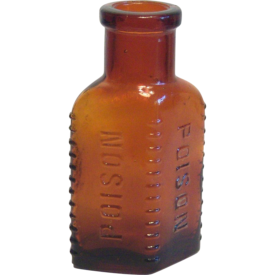 Vintage POISON Bottle in Dark Amber Colored Glass