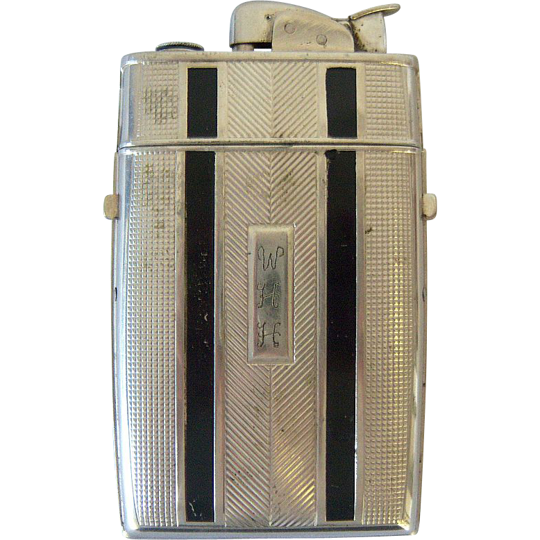 Evans Cigarette Case/Lighter 1950's Black Stripes