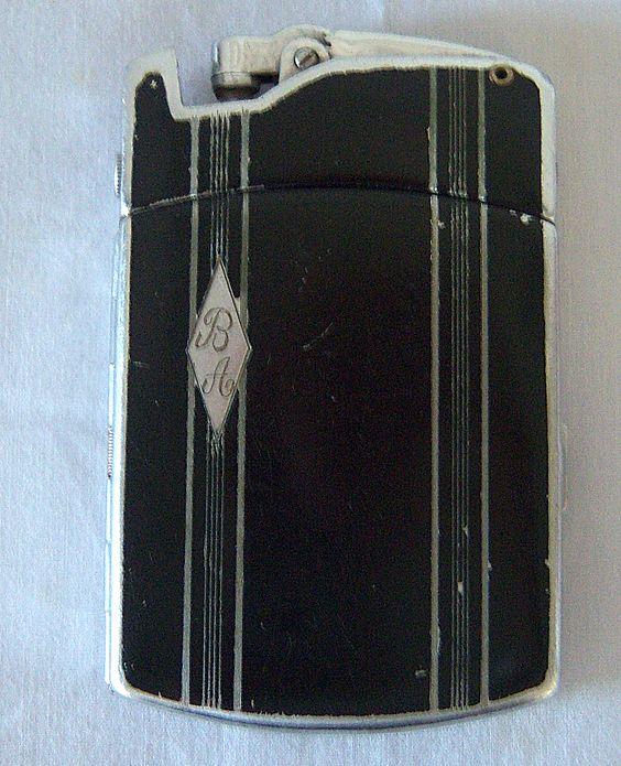 Ronson Tuxedo Cigarette Case/Lighter Combo 1930's