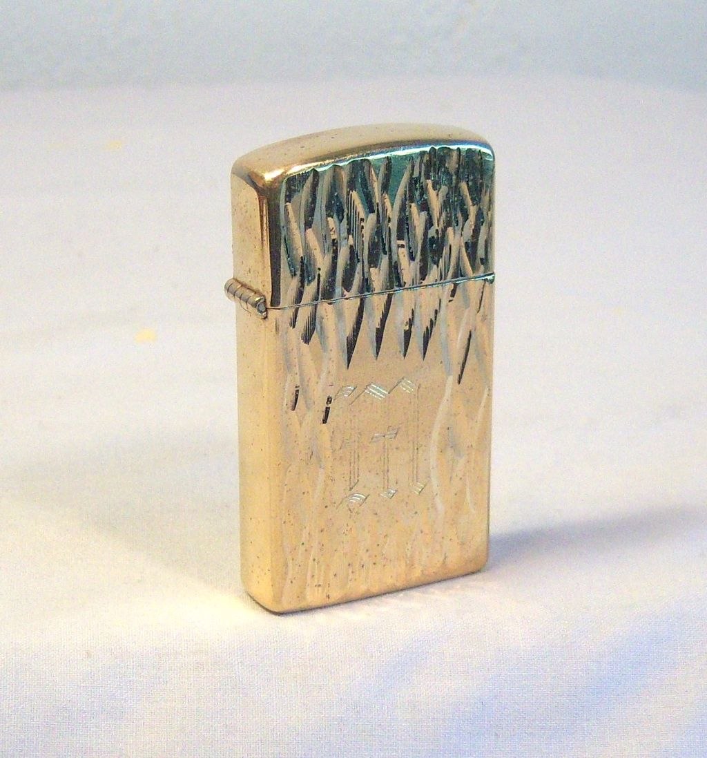 ZIPPO Slim in Scrolled Gold Colored Plating 1979