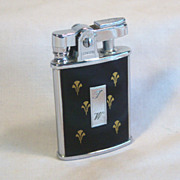 Ronson GEM Black Enamel and Gold Fleur-De-Lis Ca 1934