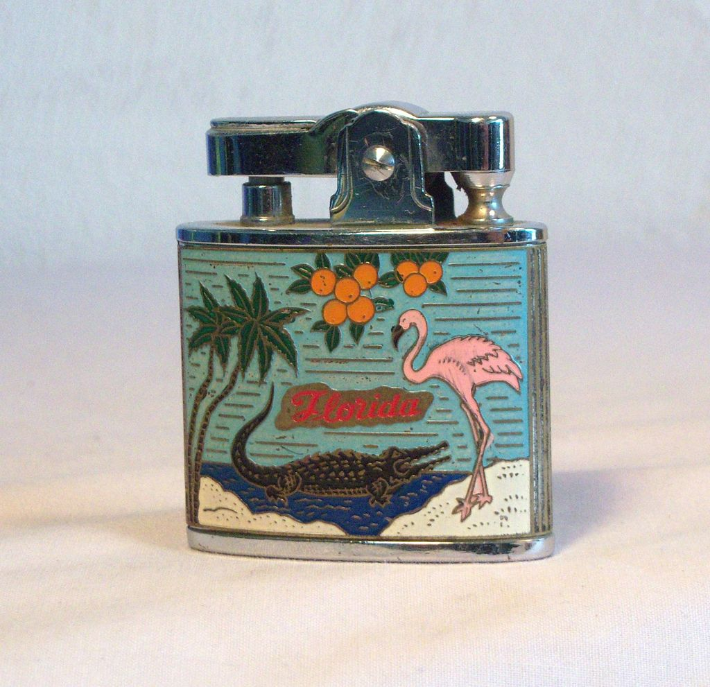 Colorful Florida Sunshine State CMC Pocket Lighter 1950's