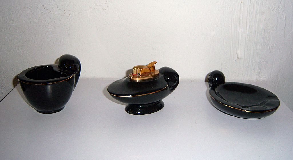 Evans Black Porcelain Table 3 Piece Lighter Set