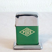 PURE Gasoline Table Lighter Green and Chrome Circa 1960