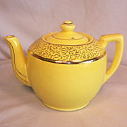 Mustard Yellow Teapot Gilded Gold Paint  USA