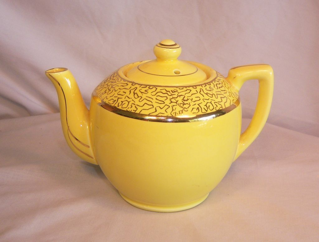 Mustard Yellow Teapot Gilded Gold Paint  USA