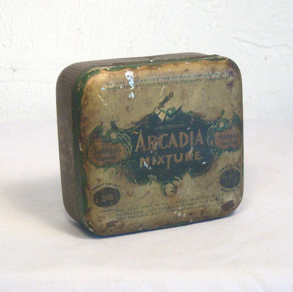 Antique ARCADIA Mixture Tobacco Tin Circa 1893