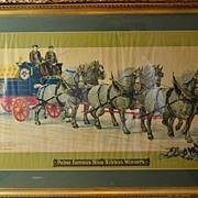 Vintage Pabst Famous Blue Ribbon Winner Beer Advertisement Print in Frame
