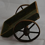 Primitive Children's Toy of Painted Wood Pull Cart  or Wagon - Handmade Folk Art