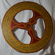 Old Folk Art Original Painted Wooden Gaming Wheel of Chance from Carnival or Casino