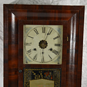 Antique American Mahogany Wall Ogee Clock Jerome Chauncey, CT Seascape Sailboat on Glass