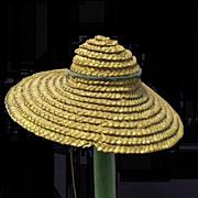 Pre-1900 miniature Doll Hat of straw