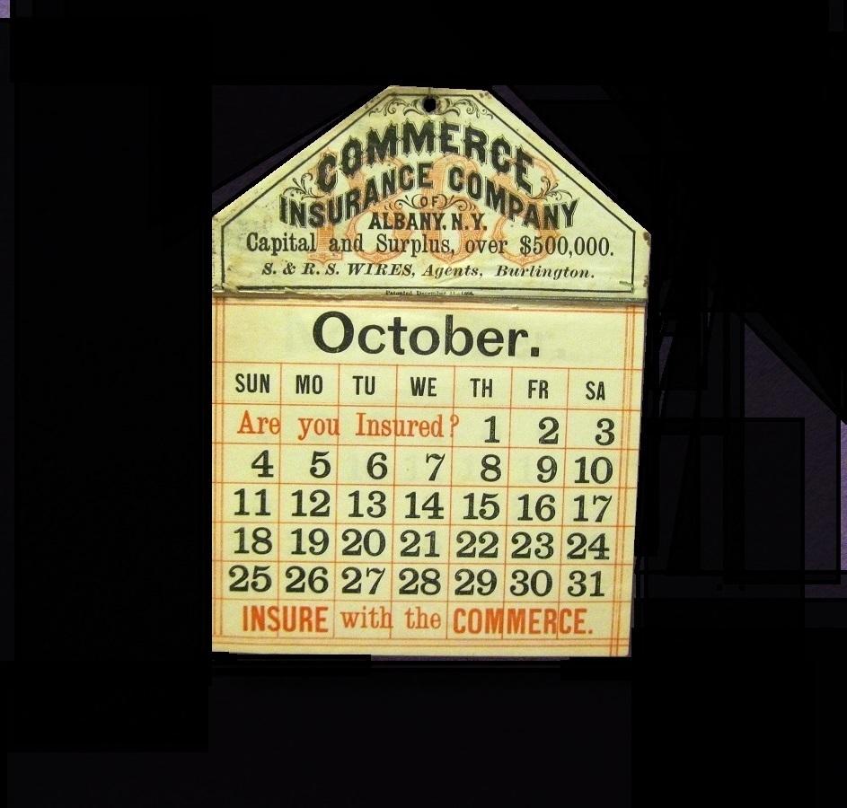 1869 Calendar, Commerce Insurance Co., Albany NY